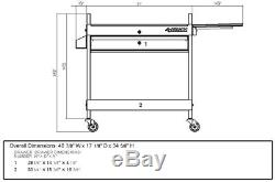 Husky Utility Cart 1-Drawer Storage 31 in. 100 lb. Ball Bearing Slide Keyed Lock