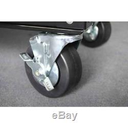 Husky Utility Cart 33 in. 4-Drawer Ball Bearing Slides Wheel Locks Black
