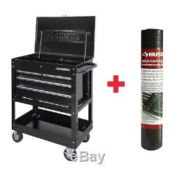 Husky Utility Cart 33 in. Ball Bearing Slides Lockable 4 Drawers Oil Resistant