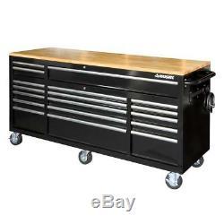 Husky Workbench Mobile w Solid Wood Top Heavy Duty Steel 18-Drawer Black 72 in