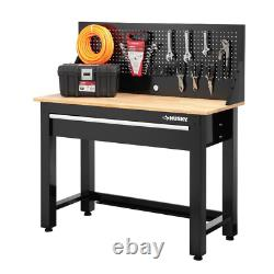 Husky Workbench Pegboard Storage 4 ft. Solid Wood Top Modern Style