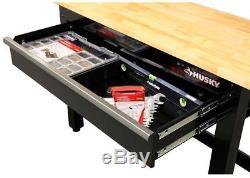 Husky Workbench Storage 4 ft. Wood Top Auto-Return Ball Bearing Slide Adjustable
