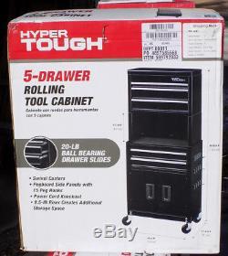 Hyper Tough 20 Rolling Tool Chest Ball Bearing 5 Drawer Slides Steel Storage