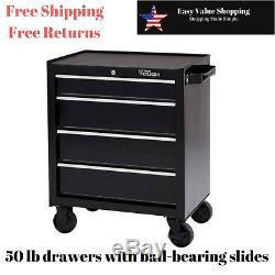 Hyper Tough 4 Drawer Rolling Tool Box Storage Cabinet w Ball-Bearing Slides 26W