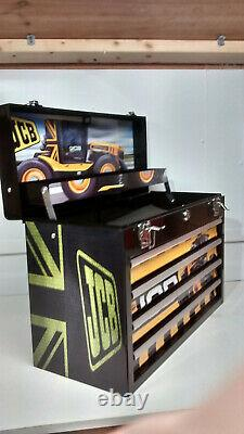 JCB FASTRAC themed and created specialist 4 drawer metal toolbox gr8 gift