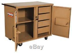 KNAACK 44 Jobsite Mobile Workbench, 40-3/4 W x 25 D x 37-1/2 H, Tan