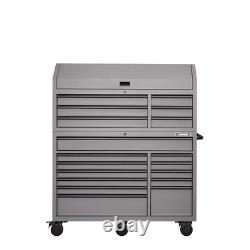 Large Tool Chest and Cabinet Set, Heavy-Duty 56 in W 18-Drawer Combination, Gray