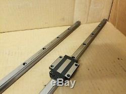 Lot of 2 AMT PMI Linear Ball Bearing Slide Guide Rail, 2 Block, 36.25 Long