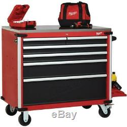 Milwaukee 40 in. W x 22.1 in. D 6-Drawer Mobile Workbench with Stainless Steel
