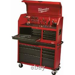 Milwaukee-8Drawer Roller Cabinet Tool Chest-46 in. Red/Black Textured-Wheel Lock