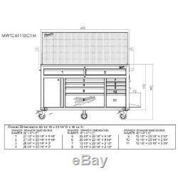 Milwaukee Mobile Workbench 11 Drawer 1-Door 22 in. D Sliding Pegboard 61 in