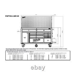 Milwaukee Mobile Workbench 61 in. 11-Drawer Pegboard Lockable Ball Bearing Slide