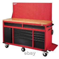 Milwaukee Mobile Workbench Sliding Pegboard Back Wall 61-Inch Red Black