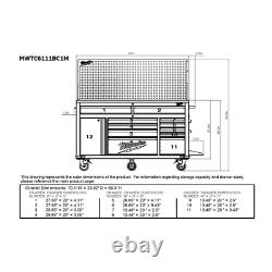 Milwaukee Mobile Workbench Tool Storage Pegboard 61 11 Drawer 1 Door Red Black