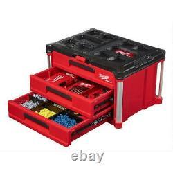 Milwaukee PACKOUT 3-Drawer Tool Box 50 lb Load Locking Modular Storage System