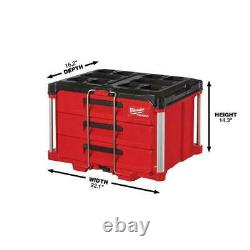 Milwaukee PACKOUT Tool Box 3-Drawer Locking Security Bar Impact-Resistant Body