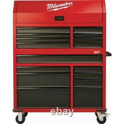 Milwaukee Steel Tool Chest Rolling Cabinet Set 14-Inch Textured Red Black