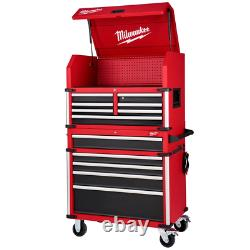 Milwaukee Tool Chest Cabinet Combo 36 in. 12-Drawer Ball Bearing Slide Red