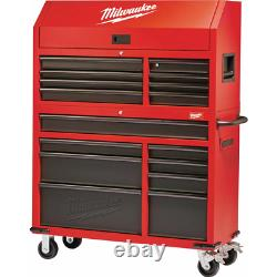 Milwaukee Tool Chest/Cabinet Set 46 in. 16-Drawer Soft Close Lockable Steel Red