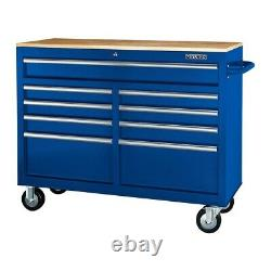 Mobile Storage Cabinet With Solid Wood Top 9 Drawer Steel Rolling Tool Box