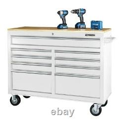 Mobile Storage Cabinet With Solid Wood Top 9 Drawer Steel Rolling Tool Box, White