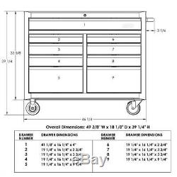 Mobile Workbench 46 in. 9-Drawer Ball Bearing Slides Lockable Wheels Black