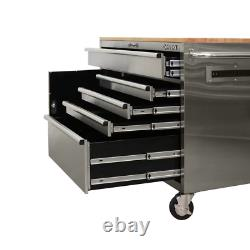 Mobile Workbench 52 in. W 5-Drawer 1-Door in Stainless Steel with Hardwood Top