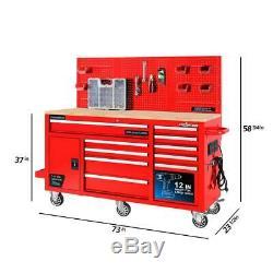 Mobile Workbench Storage 62 in. 10-Drawer Ball Bearing Slides Wheel Locks Red