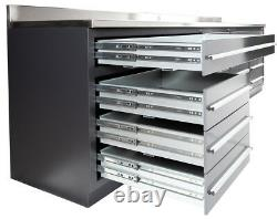 (NEW) 9FT 4 1/4 WORKBENCH WITH 20 DRAWERS and STAINLESS STEEL TOP