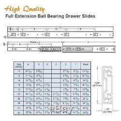Pack of 10 Pairs 10-28 Full Extension Ball Bearing Cabinet Drawer Slides
