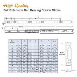 Pack of 10 Pairs 10-28 Full Extension Ball Bearing Drawer Slides Face Frame