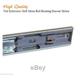 Pack of 10 Pairs 10-28 Full Extension Soft Close Ball Bearing Drawer Slides