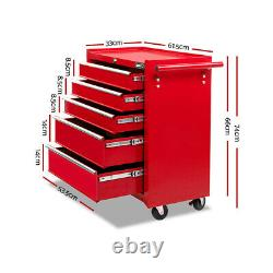 Pro 5 Drawers Toolbox Chest Cabinet Trolley Boxes Garage Storage Toolbox Red