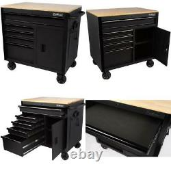Proworks 36-Inch W X 24.5-Inch D 5-Drawer 1-Door Mobile Tool Chest Workbench Wit