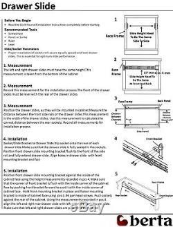 Push To Open Ball Bearing Full Extension 24 Drawer Slide+Rear Bracket (10pair)