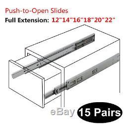 Push To Open Drawer Slide Full Extenstion Side Mount Ball Bearing Rebound Track