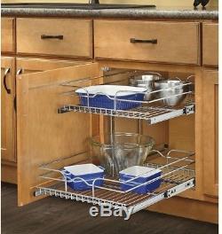 Rev-A-Shelf H Metal 2-Tier Pull Out Cabinet Basket ball-bearing slides