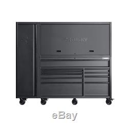 Rolling Garage Storage Tool Chest Work Bench Cabinet Sliding Lid Lit Top 80 in