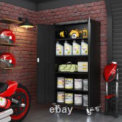 Rolling Metal Storage Cabinet Lockable Cupboard Adjustable Shelf Kitchen Garage