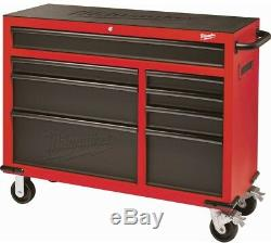 Rolling Tool Chest Cabinet 46 In. 8-Drawer Garage Red Black Textured Heavy-Duty