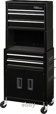 Rolling Tool Chest and Cabinet Combo With Riser 5-Drawer 20 Inch Black Peghooks