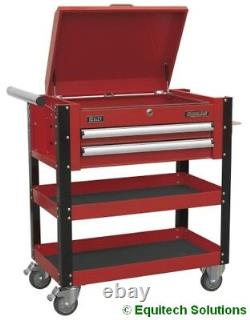 Sealey AP760M Mobile Tool Parts Trolley Cart 2 Drawers Lockable Top Red