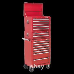 Sealey APSTACKTR Topchest Mid-Box & Rollcab Combination 14 Drawer Red
