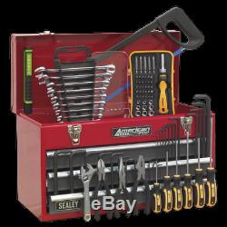 Sealey Portable Tool Chest 3 Drawer Ball Bearing Slides Red/Grey & 93pc Tool Kit