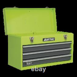 Sealey Tool Chest 3 Drawer Portable with Ball Bearing Slides Hi-Vis Green/Grey