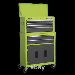 Sealey Topchest & Rollcab Combination 6 Drawer Ball Bearing Slides Green / Grey