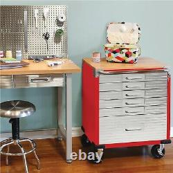 Seville Classics UltraHD 6-Drawer Rolling Cabinet Heavy Duty With Key Lock RED