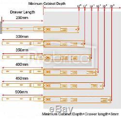 Side Mount Drawer Slide Full Extenstion Push To Open Ball Bearing Heavy Duty