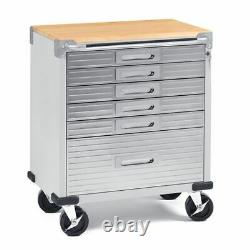 Stainless Steel 6-Drawer Cart with Keys