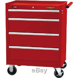 Stanley 4-Drawer Rolling Cabinet Red Steel Ball-Bearing Slides Toolbox Storage